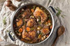 Eigengemaakt Frans Coq-Au Vin Chicken stock foto's
