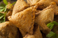 Eigengemaakt Fried Indian Samosas Royalty-vrije Stock Foto