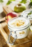 Eigengemaakt gelaagd dessert met appelen stock afbeelding