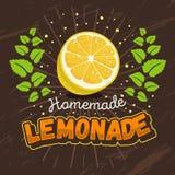 Eigengemaakt Limonadeontwerp met Gesneden Citroen en Muntkroon Illus Stock Afbeeldingen