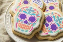 Eigengemaakt Mexicaans Sugar Skull Cookies stock fotografie