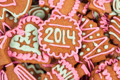 Eigengemaakt nieuw jaarkoekje met het aantal van 2014 Stock Afbeeldingen