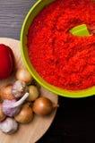 Eigengemaakt rood paprikastilleven Stock Fotografie