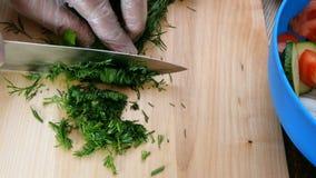 Eigengemaakt vegetarisch gezond voedsel De menselijke handen snijden sappige kruiden, dille en peterselie, voor het koken van pla stock video
