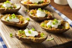 Eigengemaakte Aardappelhuiden met Bacon royalty-vrije stock foto