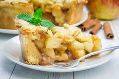 Eigengemaakte appeltaart met roosterpatroon Royalty-vrije Stock Afbeelding