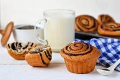 Eigengemaakte broodjes met papaverzaden en melk voor ontbijt Stock Fotografie