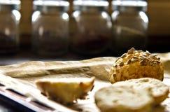 Eigengemaakte broodjes met zonnebloemzaden Stock Afbeeldingen
