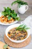 Eigengemaakte champignonsoep met champignons, verse kruiden Royalty-vrije Stock Afbeelding