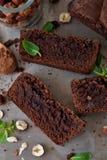 Eigengemaakte chocolade brownies met noten Stock Afbeeldingen