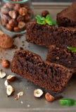 Eigengemaakte chocolade brownies met noten Stock Foto's