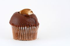 Eigengemaakte chocolade Cupcake met sugervoetbal. stock fotografie