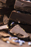 Eigengemaakte chocolade met lavendelbloemen Royalty-vrije Stock Afbeeldingen