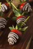 Eigengemaakte Chocolade Ondergedompelde Aardbeien Royalty-vrije Stock Afbeeldingen
