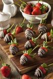 Eigengemaakte Chocolade Ondergedompelde Aardbeien Royalty-vrije Stock Foto's