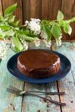Eigengemaakte chocoladecake met chocoladesuikerglazuur in marineblauwe plaat Stock Foto