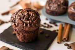 Eigengemaakte chocolademuffin stock afbeelding