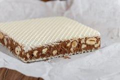 Eigengemaakte chocoladenoga met noten Stock Afbeelding