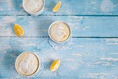 Eigengemaakte citroenpuddingen met citroenschil en sap Stock Foto