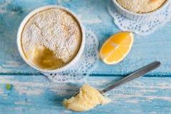 Eigengemaakte citroenpuddingen met citroenschil en sap Royalty-vrije Stock Foto