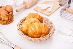 Eigengemaakte croissants Stock Foto