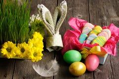 Eigengemaakte de peperkoekkoekje en eieren van Pasen Royalty-vrije Stock Afbeelding