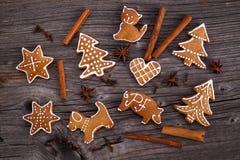 Eigengemaakte de peperkoekkoekjes van Kerstmis Stock Afbeelding
