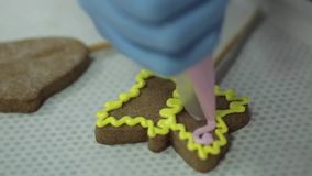 Eigengemaakte de peperkoekkoekjes van Kerstmis stock video