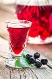 Eigengemaakte die likeur van alcohol wordt gemaakt en chokeberries royalty-vrije stock fotografie