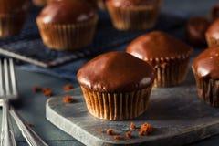 Eigengemaakte Donkere Chocolade Cupcakes Royalty-vrije Stock Foto's