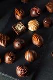 Eigengemaakte Donkere Chocoladetruffels Royalty-vrije Stock Foto