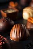 Eigengemaakte Donkere Chocoladetruffels Stock Foto's