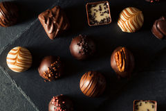 Eigengemaakte Donkere Chocoladetruffels Royalty-vrije Stock Afbeelding