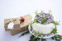 Eigengemaakte Fonkelende de Cake en de giftdozen van de Amerikaanse veenbes Witte Chocolade Royalty-vrije Stock Afbeeldingen