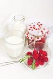 Eigengemaakte frambozenjam met bes en melk voor ontbijt op whit Royalty-vrije Stock Afbeeldingen