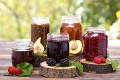 Eigengemaakte fruitjam in de kruik Royalty-vrije Stock Foto's