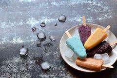 Eigengemaakte geassorteerde aroma's en kleuren van bevroren yoghurt of roomijsijslollys van vruchten Het dessert van het de zomer royalty-vrije stock afbeelding