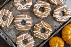 Eigengemaakte Gebakken Kaneelpompoen Donuts Stock Fotografie