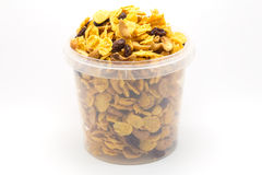 Eigengemaakte gemengde karamelcornflakes stock foto