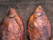 Eigengemaakte gerookte brasem twee op een metaalnetwerk Royalty-vrije Stock Fotografie