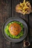 Eigengemaakte hamburger met frieten Royalty-vrije Stock Afbeeldingen