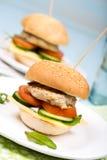 Eigengemaakte hamburger met rundvleeskotelet en groenten Stock Afbeeldingen