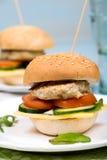 Eigengemaakte hamburger met rundvleeskotelet en groenten Royalty-vrije Stock Afbeeldingen