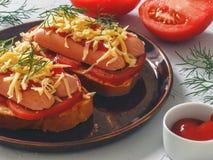 Eigengemaakte heerlijke sandwich met worst, tomaten en kaas Stock Afbeeldingen