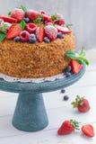 Eigengemaakte honingscake met aardbeien, bosbessen en frambozen op lichte achtergrond Royalty-vrije Stock Fotografie