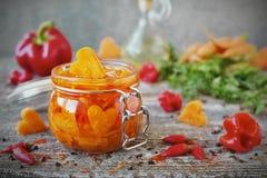 Eigengemaakte ingelegde wortelen met knoflook en Spaanse peper in glaskruiken Royalty-vrije Stock Foto