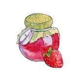 Eigengemaakte jam in een kruik Geïsoleerde watercolor Royalty-vrije Stock Foto