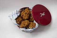 Eigengemaakte koekjes in een kleurrijke metaaldoos Royalty-vrije Stock Afbeeldingen