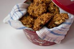 Eigengemaakte koekjes in een kleurrijke metaaldoos Royalty-vrije Stock Foto