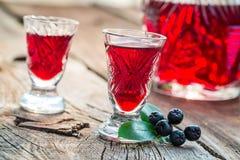 Eigengemaakte likeur met chokeberries en alcohol royalty-vrije stock afbeelding